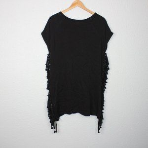 Lumiere Black Fringe Night Out Blouse sz L